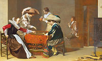 Виллем Корнелис Дейстер: Two Men playing Tric-trac, with a Woman scoring