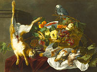 Jan Fyt: A Still Life with Fruit, Dead Game and a Parrot