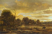 Aert van der Neer: A River Landscape with a Village