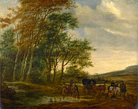 Саломон ван Рёйсдал: A Landscape with a Carriage and Horsemen at a Pool
