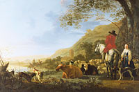 Aelbert Cuyp: A Hilly Landscape with Figures