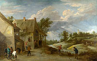 Давид Тенирс Младший: Peasants playing Bowls outside a Village Inn
