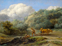 Николес Питерсзон Берхем: A Man and a Youth ploughing with Oxen