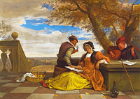 Jan Havickszoon Steen: Two Men and a Young Woman making Music on a Terrace