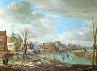 Aert van der Neer: A Frozen River near a Village, with Golfers and Skaters