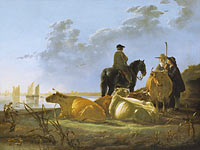 Aelbert Cuyp: Peasants and Cattle by the River Merwede