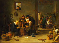 Давид Тенирс Младший: Two Men playing Cards in the Kitchen of an Inn