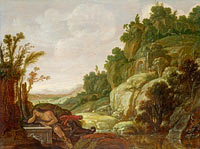 Jacob Symonsz. Pynas: Mountain Landscape with Narcissus