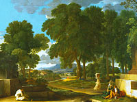 Николя Пуссен: Landscape with a Man washing his Feet at a Fountain