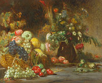 Pierre Andrieu: Still Life with Fruit and Flowers