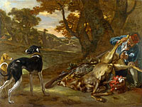 Jan Baptist Weenix: A Huntsman cutting up a Dead Deer, with Two Deerhounds