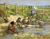 Eugène Louis Boudin: Laundresses by a Stream