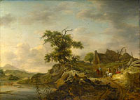 Ян Воуверман: A Landscape with a Farm on the Bank of a River