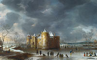 Jan Abrahamsz Beerstraaten: The Castle of Muiden in Winter