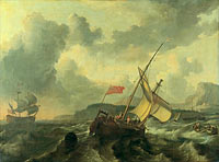 Ludolf Bakhuizen: An English Vessel and a Man-of-war in a Rough Sea
