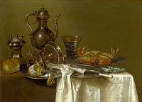 Willem Claesz. Heda: Still Life: Pewter and Silver Vessels and a Crab