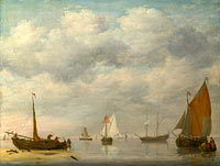 Jan van Os: Dutch Vessels in Calm Water