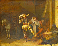 Pieter Jansz. Quast: A Man and a Woman in a Stableyard
