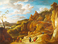 David Teniers the Younger: A Gipsy Fortune Teller in a Hilly Landscape