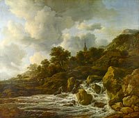 Jacob Isaacksz. van Ruisdael: A Waterfall at the Foot of a Hill, near a Village