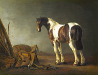 Abraham van Calraet: A Horse with a Saddle Beside it