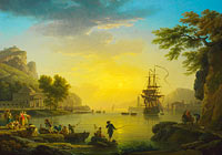 Claude-Joseph Vernet: A Landscape at Sunset