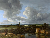 Якоб Исаакс ван Рёйсдал: A Landscape with a Ruined Castle and a Church