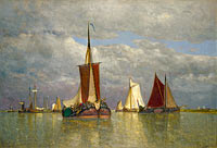 Paul-Jean Clays: Ships lying near Dordrecht