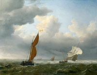 Willem van de Velde (II): A Dutch Ship and Other Small Vessels in a Strong Breeze