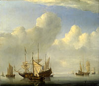 Willem van de Velde (II): A Dutch Ship coming to Anchor