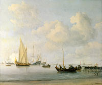 Виллем ван де Вельде (II): Boats pulling out to a Yacht in a Calm