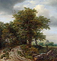 Jacob Isaacksz. van Ruisdael: A Road winding between Trees towards a Distant Cottage