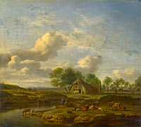 Адриан ван де Велде: A Landscape with a Farm by a Stream