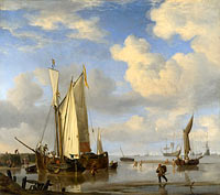 Willem van de Velde (II): Dutch Vessels Inshore and Men Bathing