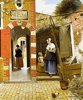 Pieter de Hooch: The Courtyard of a House in Delft