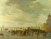 Ян ван Гойен: A Scene on the Ice near Dordrecht