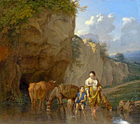 Карел Дюжарден: A Woman and a Boy with Animals at a Ford