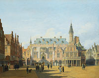 Геррит Андриенс Беркхейде: The Market Place and Town Hall, Haarlem