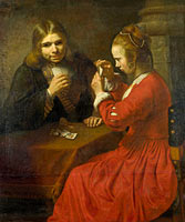Follower of Rembrandt: A Young Man and a Girl playing Cards