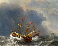 Виллем ван де Вельде (II): Three Ships in a Gale