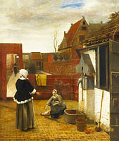Pieter de Hooch: A Woman and her Maid in a Courtyard