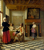 Pieter de Hooch: A Woman Drinking with Two Men