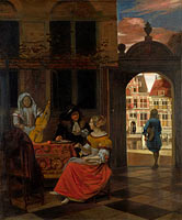 Pieter de Hooch: A Musical Party in a Courtyard