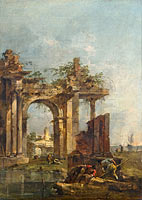 Francesco Guardi: A Caprice with Ruins on the Seashore