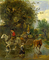 Jan Siberechts: A Cowherd passing a Horse and Cart in a Stream