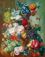Jan van Os: Fruit and Flowers in a Terracotta Vase