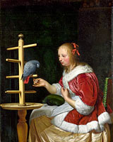 Frans van Mieris (I): A Woman in a Red Jacket feeding a Parrot