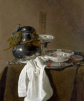 Jan Jansz. Treck: Still Life with a Pewter Flagon and Two Ming Bowls