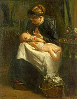 Якоб Марис: A Young Woman nursing a Baby