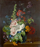 Jan van Huysum: Hollyhocks and Other Flowers in a Vase